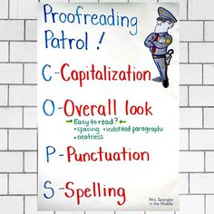 """This is one of my favorite anchor charts for my middle school students to refer to when we proofread writing in class. They get a kick out of the idea of being on """"Proofreading Patrol"""". Writing Lesson Plans, Writing Lessons, Writing Practice, Writing Resources, Teaching Writing, Writing Ideas, Middle School Ela, Middle School Classroom, Middle School English"""