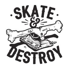 Skate & Destroy... finally indisputable proof cavemen were shredders. See more cool designs via: melonclothes.com SkullyBloodrider.