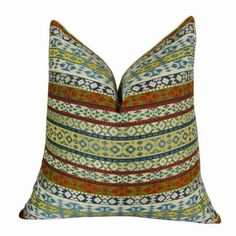 Plutus Fun Stripes Handmade Throw Pillow, Double Sided, Multicolor