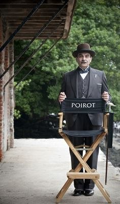 David Suchet on the set of Dead Man's Folly, filming at Agatha Christie's holiday home, Greenway in Devon.
