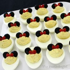 The Partiologist: Minnie Mouse Deviled Eggs! Mickey Mouse Food, Mickey Mouse Parties, Mickey Party, Disney Parties, Elmo Party, Dinosaur Party, Dinosaur Birthday, Pirate Party, Mickey Mouse Clubhouse Birthday Party