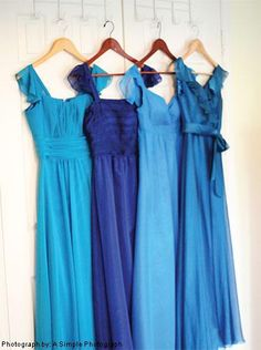 I like the look of these dresses. Not sure about using different shades of blue though.