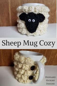 Crochet Gift Design Sheep Mug Cozy - Highland Hickory Designs - Free Crochet Pattern - Crochet this Sheep Mug Cozy with this free and easy pattern! Great gift for any sheep enthusiast or yarn lover. Crochet Motifs, Easy Crochet Patterns, Crochet Designs, Free Crochet, Knitting Patterns, Crochet Sheep Free Pattern, Crochet Geek, Crochet Afghans, Crochet Ideas