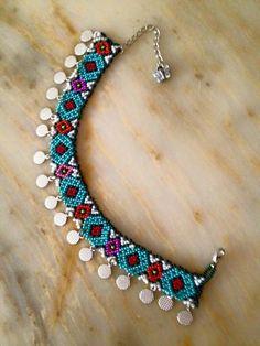 Beadwork, Beading, Beaded Collar, Necklaces, Bracelets, Cotton Saree, Diy And Crafts, Creative, Fabric