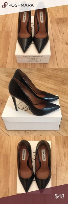 "💄Steve Madden Proto Heels💄 *Re-Listing* Good condition. Size 9. Black leather. Approximately 4 1/4"" heel. Very light, hardly noticeable scruff on the inside of right heel, picture included. Box Included. Grab that little black dress and some MAC Ruby Red 💄 if you dare✨✨✨✨ Steve Madden Shoes Heels"