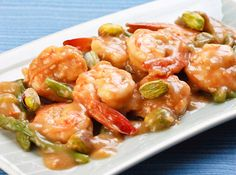 Shrimp with Asparagus -- Submitted by a Yummy reader back in October 2009, this uses soup mix for more flavor - and to thicken, too!
