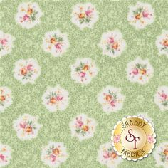 """RURU Bouquet RU2200-15C By Quilt Gate Fabrics: RURU Bouquet is a floral collection by Quilt Gate Fabrics. This fabric features small rose bouquets in cameos on a textured green background.               Width: 43""""/44""""Material: 100% CottonSwatch Size: 6"""" x 6"""""""