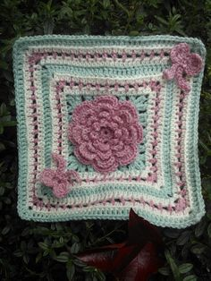 "Ribbon and Roses 12"" Square ~ free pattern"