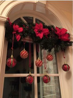 christmas decorating Easy DIY hanging window ornaments using beads and garland. Elegant Christmas decoration idea for mantle. Great budget decor idea for the home, winter wedding, or Christmas party. Diy Christmas Decorations For Home, Elegant Christmas Decor, Simple Christmas, Beautiful Christmas, Christmas Home, Christmas Holidays, Christmas Wreaths, Christmas Crafts, Holiday Decor