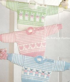 Baby Jumper knitting pattern with Heart, Bear or Rabbit Motifs chest 16-18-20inches [DOWNLOAD]