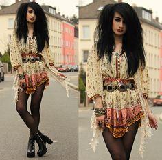Spell Designs Tribal Dress, Vintage Concho Belt, The White Pepper Platform Heels, Crochet Vest