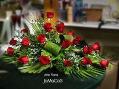 Funeral Sprays, Floral Arrangements, Flower Arrangement, Sympathy Flowers, Funeral Flowers, Arte Floral, Casket, Love Flowers, Red Roses