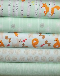 This site has the cutest kid fabrics... mental note made. Riley Blake, Good Natured, Mint in FAT QUARTERS 5 Total
