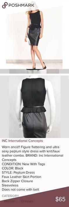 INC Concepts Peplum Black Dress INC International Concepts Faux Leather Dress 👗 INC International Concepts Dresses Midi