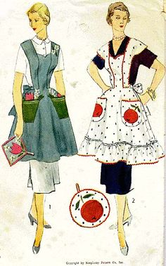 PATTERN only. Vintage Sewing from Commercial Pattern Archive. Simplicity 4063 c.1952 Apron & potholder. Click on broken Link for Pattern Pieces