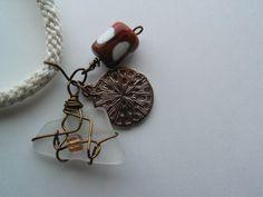 Sea glass/lampwork bead charms/Kumihimo cord - Day at the Shore