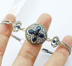 High Quality Turkish Sapphire Topaz 925K Sterling Silver Bracelet CJ M5787   eBay