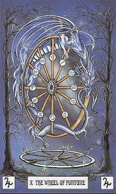Dragon Tarot - Wheel of Fortune - http://ilovetarots.com/2014/05/dragon-tarot-wheel-of-fortune/