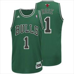 06bf8c42443 Mens Chicago Bulls Derrick Rose 1 Green St. Patrick Day Authentic NBA Jersey  on eBid