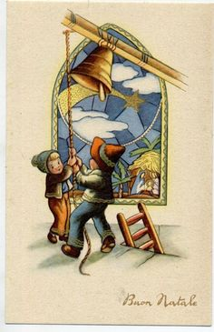 Bambini Campana Presepe Mosaico Cometa Natale Childrens Xmas PC Circa 1930