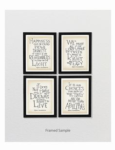 Set of 4 - Albus Dumbledore quote - Harry Potter poster, typography poster,  inspirational art, wall decor