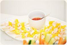Caramelja: Garnelen - Mango - Spiesse mit Sweet Chili Sauce