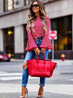 Litetao Striped Blouse, Women Elegant O-Neck Long Flare Sleeve Casual Shirt Tops Fall Fashion Outfits, Spring Outfits, Autumn Fashion, Girl Fashion, Casual Outfits, Cute Outfits, Womens Fashion, Fashion Trends, Fashion Pants
