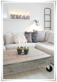 I like the neutral colors of both coffee table and couch - ruthie ♂ Neutral color home deco nature wood Home Living Room, Living Spaces, Vibeke Design, Minimalist Christmas, Diy Casa, Home And Deco, Pallet Furniture, Furniture Ideas, Entryway Furniture