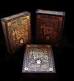 Hocus Pocus 40th Anniversary Deck playing cards by Hocus Pocus Magic Shop. Printed by USPC in a LE of 2,500 decks printed. Front of Tuck Box.