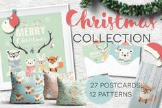 Christmas- 27 postcards, 12 patterns by Blue Lela Illustrations on @creativemarket