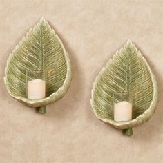 Island Bouquet Tropical Leaf Wall Sconce Pair
