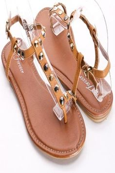 TAN T-STRAP MULTICOLORED ROUND STUDDED SANDALS