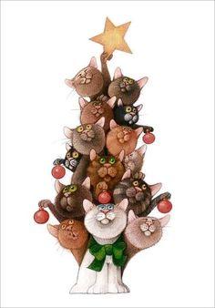 El mejor arbol de navidad - koty w malarstwie - I Love Cats, Crazy Cats, Cool Cats, Noel Christmas, Christmas Cats, Xmas, Animals Watercolor, Image Chat, Cat Drawing