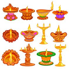Collection Of Decorated Diya For Happy Diwali Holiday Background Stock Vector - Illustration of festival, deepawali: 78218095 Rangoli Designs Flower, Small Rangoli Design, Flower Rangoli, Diwali Pooja, Diwali Diya, Drawing For Kids, Art For Kids, Diwali Photography, Animal Photography