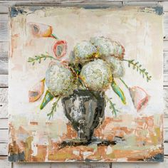 Hydrangeas and Tulips canvas painting by Sarah Robertson