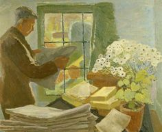 peinture : Leonard Woolf at a Window in Monk's House by Trekkie Parsons Clive Bell, Leonard Woolf, Gottfried Helnwein, Duncan Grant, Vanessa Bell, Bloomsbury Group, Virginia Woolf, Art Uk, Persephone