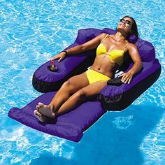 NEW - Floating Lounge Chair-9047 by Swimline. $54.38. Oversized sumptuously comfortable nylon fabric covered inflatable loungerAdjust inflation for degree of comfort