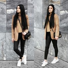 Holynights Claudia - Sheinside Turtleneck Camel Sweater, Zara Camel Blazer, Sheinside Leather Look Leggings - Casual in camel and leather Casual Leggings Outfit, Legging Outfits, Nike Outfits, Cold Outfits, Cute Winter Outfits, Leggings Fashion, Trendy Outfits, Fashion Outfits, School Outfits