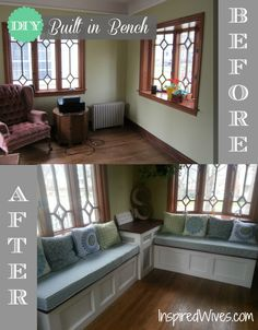 DIY Built in Bench - completely transforms the space! This is what we need for the sunroom except with drawers for storage