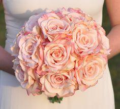 Blush Pink Rose Weddding Bouquet, Flower Bouquet, Silk Bouquet, Artificial Flowers, Pink Rose Bouquet, Silk Flowers, Decorations, Weddings. by Hollysflowershoppe on Etsy https://www.etsy.com/listing/259949105/blush-pink-rose-weddding-bouquet-flower