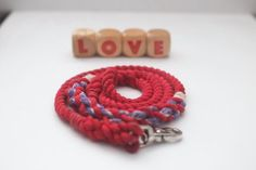 Red and Purple Valentine's Day Rope Dog Leash // by KaisRuffWear