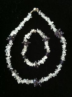 Rainbow Moonstone/Amethyst Necklace/Bracelet Set by NorthCoastCottage, $49.00 #handmade #jewelry #etsy
