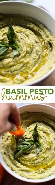 Basil Pesto Hummus - My list of simple and healthy recipes Healthy Recipes, Healthy Snacks, Vegetarian Recipes, Healthy Eating, Cooking Recipes, Vegetarian Diets, Cooking Tips, Pesto Hummus, Basil Recipes