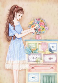 Pink Wallpaper Iphone, Cartoon Wallpaper, Anime Art Girl, Manga Girl, Mom Drawing, Cute Cartoon Girl, Girls With Flowers, Chibi Girl, Beautiful Anime Girl