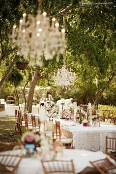 Secret Garden Fairy Tale Wedding, love the chandeliers hanging from the trees and everything else!