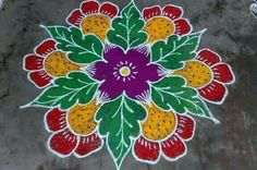 Rangoli Colours, Rangoli Patterns, Rangoli Designs Images, Rangoli Ideas, Rangoli Designs Diwali, Diwali Rangoli, Simple Rangoli, Small Rangoli Design, Colorful Rangoli Designs