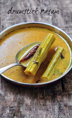 Drumstick Rasam Recipe - Easy Andhra-Style Rasam with Drumsticks - Edible Garden Andhra Recipes, Indian Veg Recipes, Curry Recipes, Vegetarian Recipes, Cooking Recipes, Vegetable Recipes, Moringa Recipes, Ayurvedic Recipes, Rasam Recipe