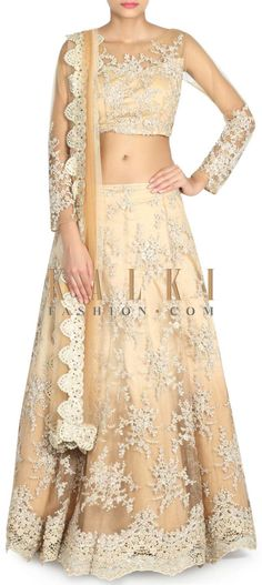 Buy this beige-shade-lehenga-adorn-in-embroidered-net-only-on-kalki