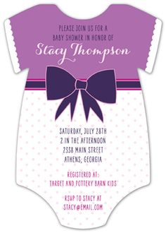 Purple Patterns Onesie Baby Shower Invitation