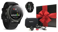 Garmin fenix 5 Slate Gray with Black Band GIFT BOX Bundle  Includes Glass Screen Protector PlayBetter USB CarWall Adapter  Hard Carrying Case  MultiSport GPS Watch with WristHeart Rate *** Check out the image by visiting the link. Note: It's an affiliate link to Amazon